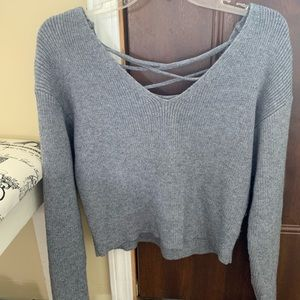 Gray Soft Lace Up Sweater